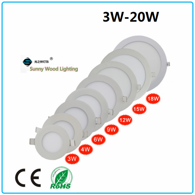 10pcs/lot  3-8 inch,3-20W round   led  integrated ceiling panel light ,embedded panel light ,ultra slim down light