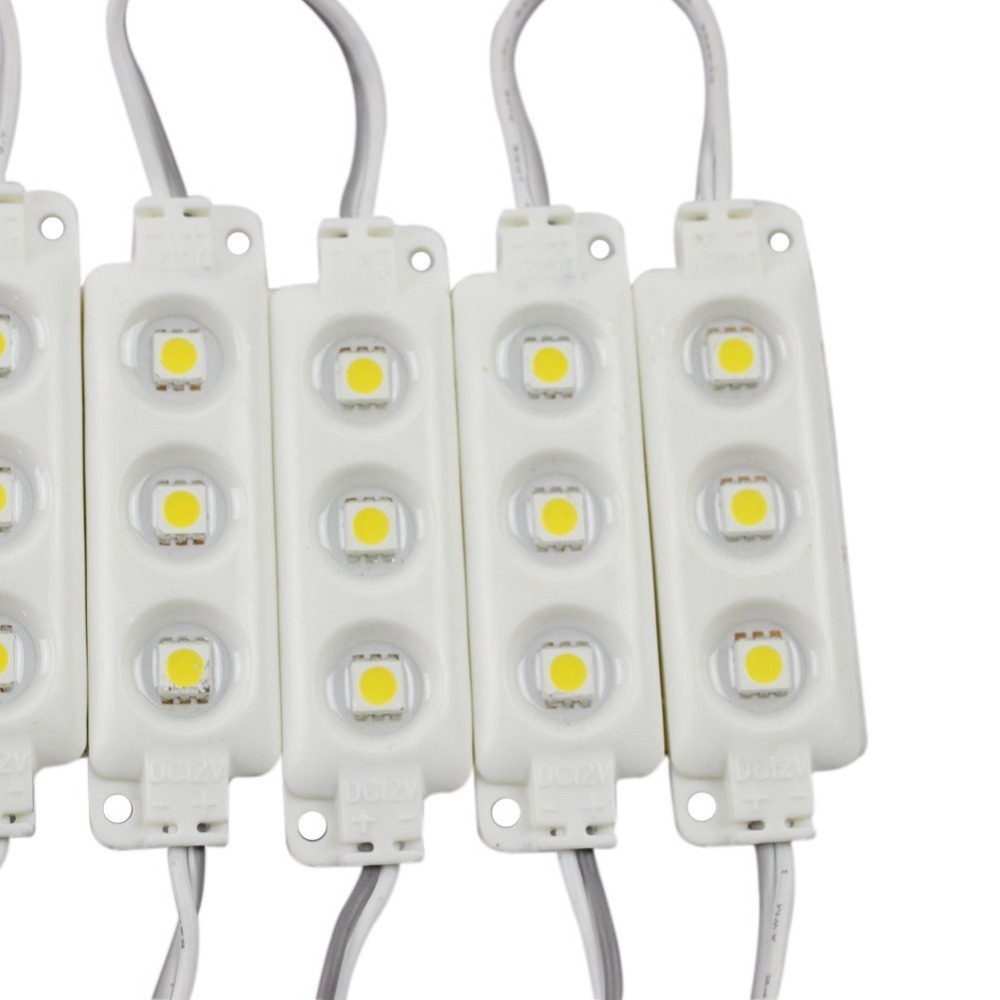 100 PCS High light Injection Molding Waterproof 3LED 5050 SMD Module Pure Warm White Decorative Light Lamp DC12V