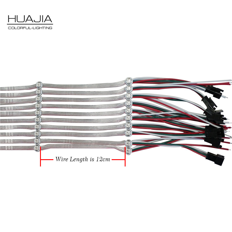 50pcs/String Pre-soldered WS2812B LED Heatsink 5V 5050 RGB WS2811 IC Built-in Led 12cm Wire Full Color Led Module Non-Waterproof