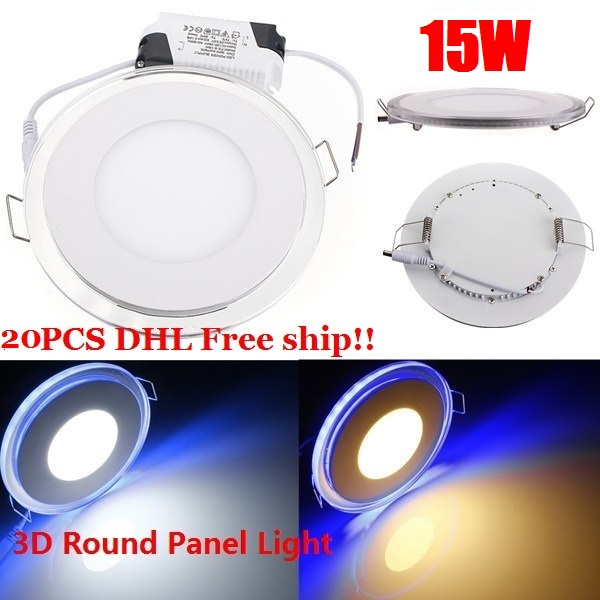 20PCS DHL Free Acrylic LED Panel Light Recessed Downlight Panel Ceiling Wall Light 15W Cool White/Warm White For Home Decoration
