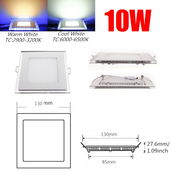10W Acrylic LED Panel Light Recessed Downlight Panel Ceiling Wall Light Cool White Warm White For Home Decoration AC 85-265V