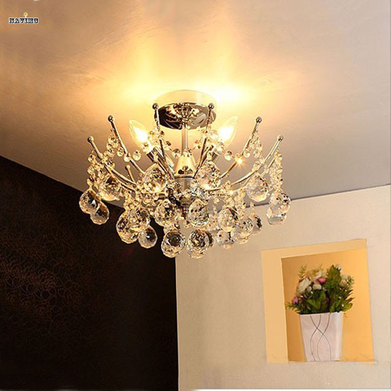 Modern Lustre Vanity Crystal Chandelier Light Fixture Chrome Finish LED Ceiling Lamp for Dining Room Restaurant