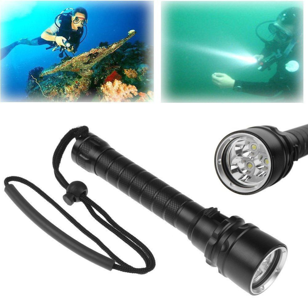 Professional 6000Lm 3 x High Quality XM-L T6 LED 100M Diving Underwater Flashlight Torch Waterproof