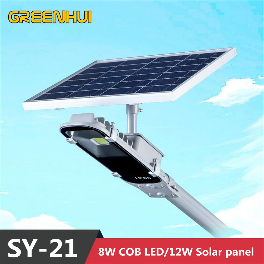 Super bright 8W cob LED Street Light 12W Solar Power Panel Ray+Time control Wall Waterproof Outdoor Garden Path Spotlight