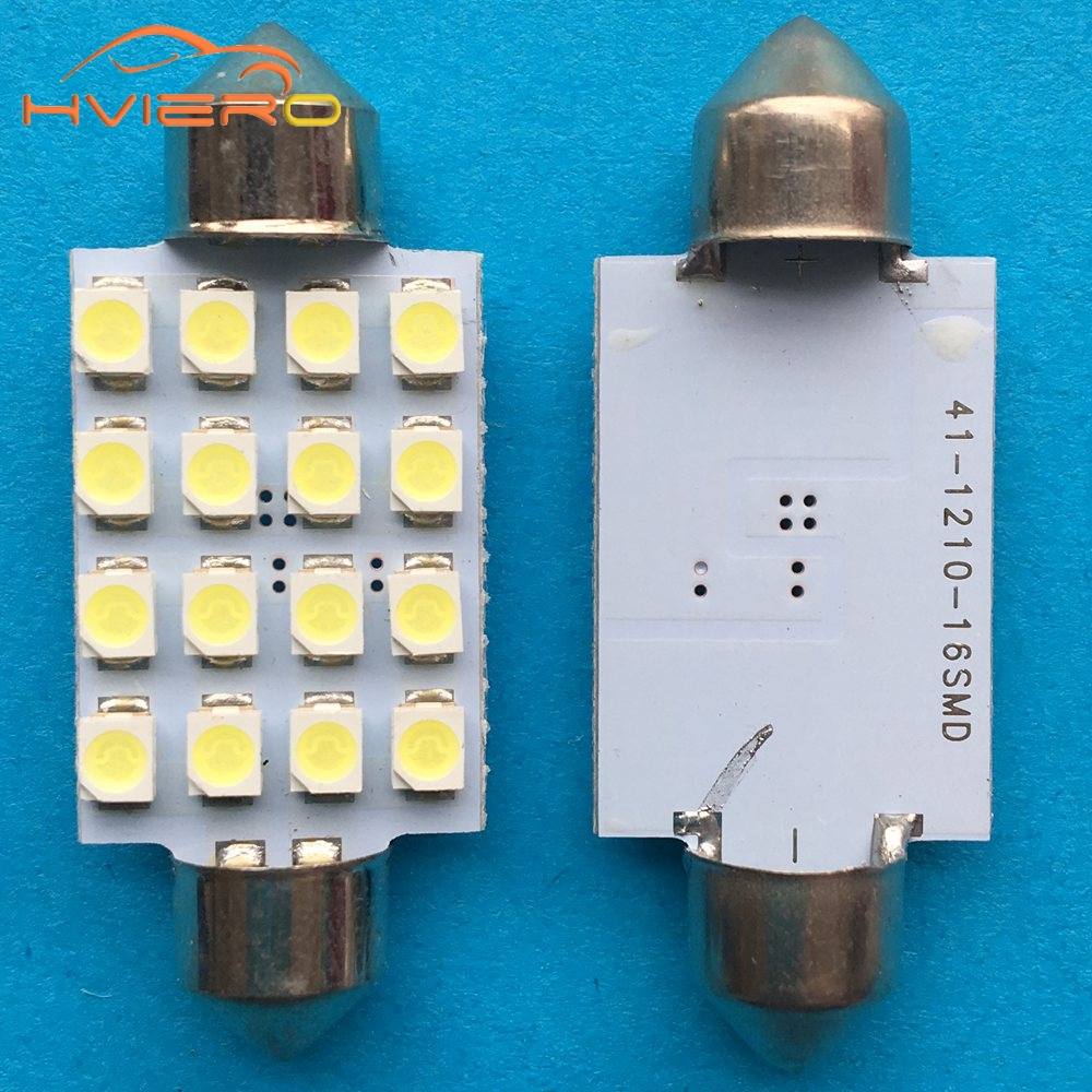 10pcs White 31mm 36 mm 39mm 41mm DC 12V C5W 1210 3528 16SMD Festoon Dome Car Panel Reading Lamp Wedge bulbs Auto Roof Car Light