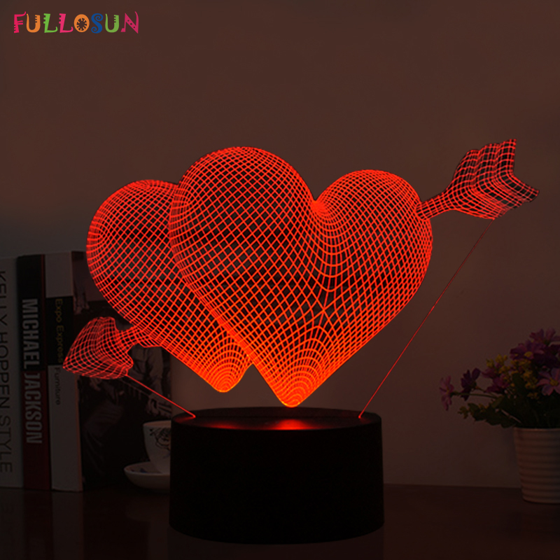 Sweet 3D USB LED Lamp LED LOVE Heart Shape Night Light with 7 Colors Desk Lamp for Valentine's Day Romantic Gifts