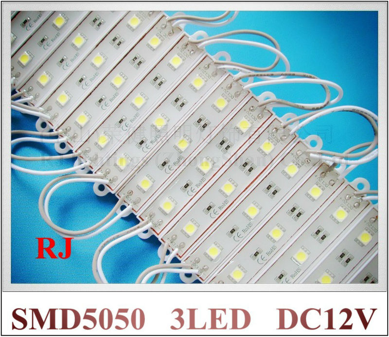 IP65 epoxy waterproof LED module SMD 5050 LED lighting module SMD5050 DC12V 3 led 45lm 0.72W IP65 CE 75mm*12mm*6mm wholesale