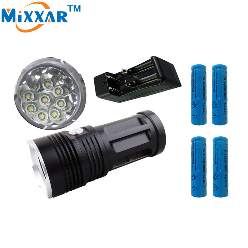 zk30 led flashlight Torch MI-9 18000 lumen 9x Cree XM-L T6 tactical Lantern suitable 4x18650 battery  can use for Camping