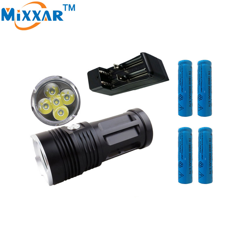 zk30 MI-5 10000LM Torch 5x Cree XM-L T6 tactical led flashlight torch and 4x18650 battery with one charger can charger 2 battery
