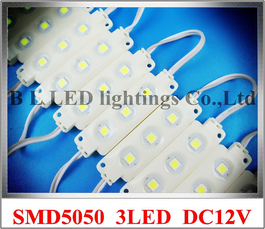 classical injection LED module waterproof SMD 5050 LED back light backlight DC12V 0.72W SMD5050 3 led IP66 wholesale