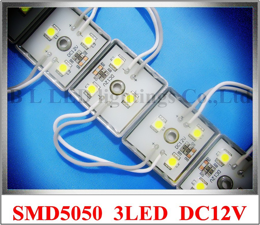 LED module 5050 LED backlight back light module waterproof for letter sign DC12V 3 led 0.72W 35mm*35mm monochrome and RGB