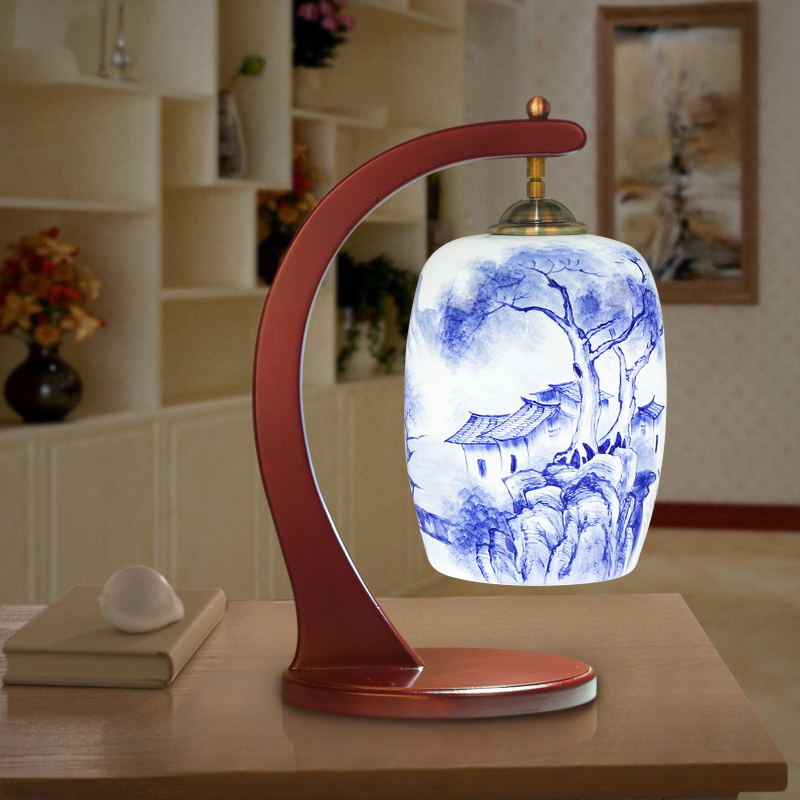 Russian Style Led Table Lamps For Living Room Jingdezhen Wooden Modern Table Light Handpainted Ceramic Lamp