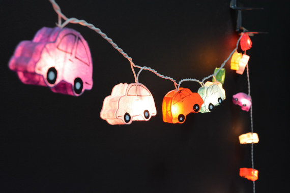2017 3M 220V 20Pcs Car Models Night lamp Kid Children Room Decor Paper String Lighting  Holiday lights EU/UK Plug Luminaria