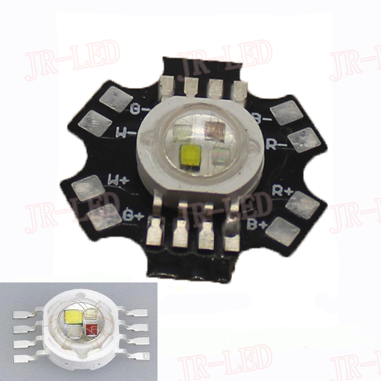 New Come! 5PCS 4W RGBW  45 MIL  RGB+White High Power Led Bead Lamp Light Red Green Blue White 1W Each Chip with 20mm Star Base