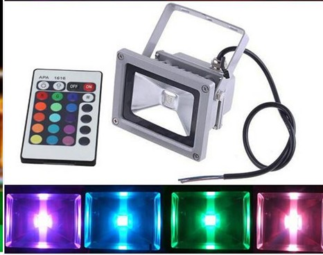 Outdoor RGB Led Flood Light Colors Changing Wall Washer Lamp IP65 Waterproof + 24key IR Remote Control Floodlight 10w 85V-250V