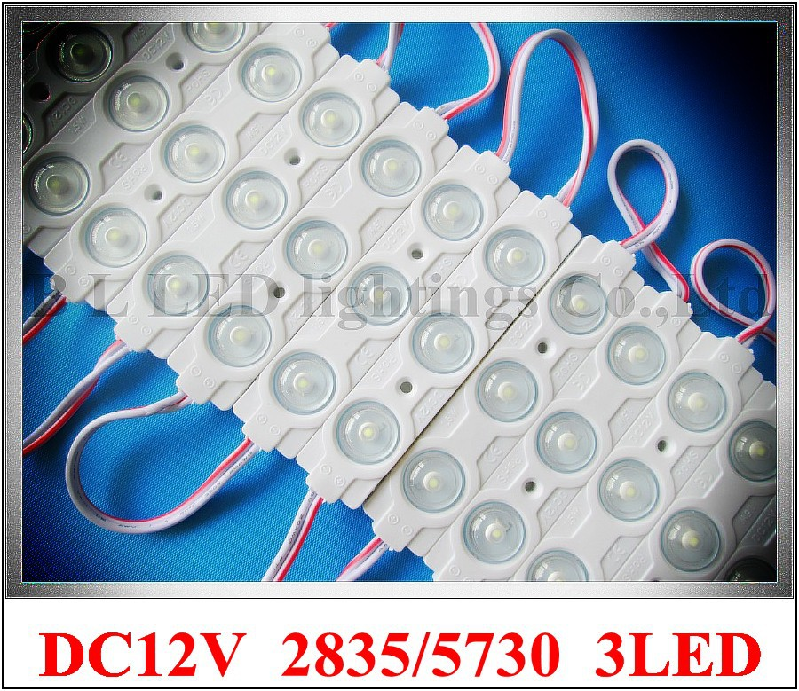 AL+ABS injection LED module with lens wide angle waterproof DC12V 1.5W SMD5730/SMD2835 3led IP67 85mm*18mm*8mm CE ROHS