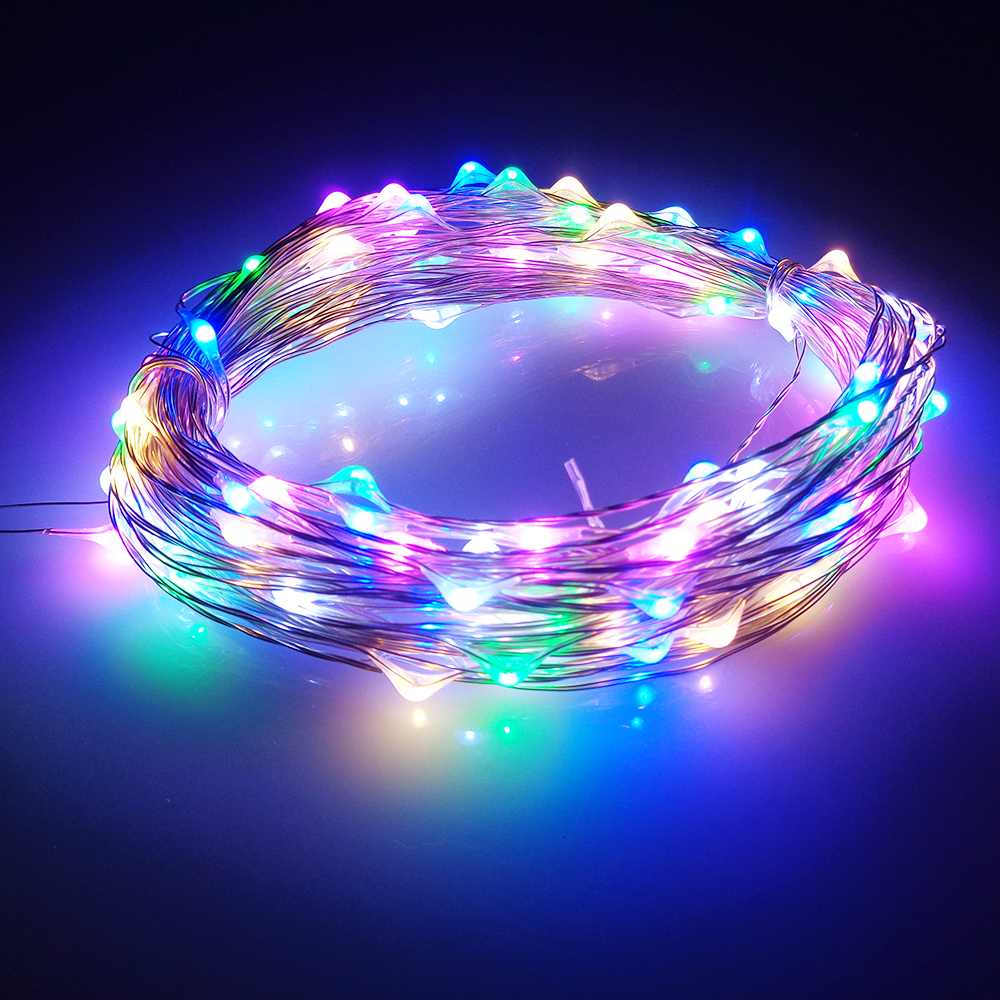 LED String Light 10M 100leds Silver Wire Fairy Lights with 1A 12V Power Adapter Christmas New Year Wedding Decoration Lights