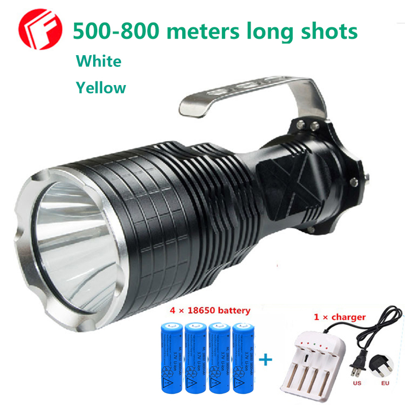 Powerful LED Flashlight Hunting 18650 cree xm-l2 Yellow White 2 color optional Outdoor lighting waterproof Portable light