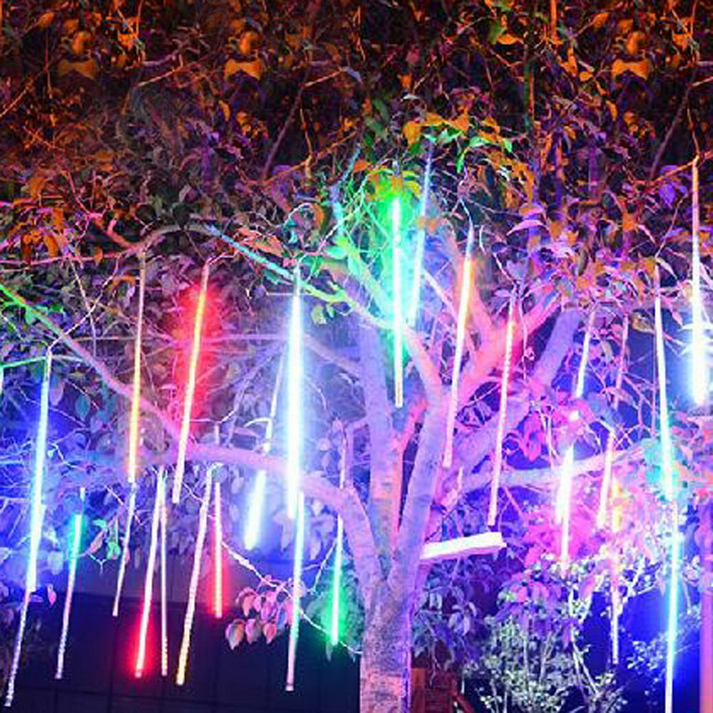 30cm 144LED Light Meteor Shower Rain 8 Tubes Tree Garden Decoration Light Snowfall Christmas String Light Wedding US Plug FULI