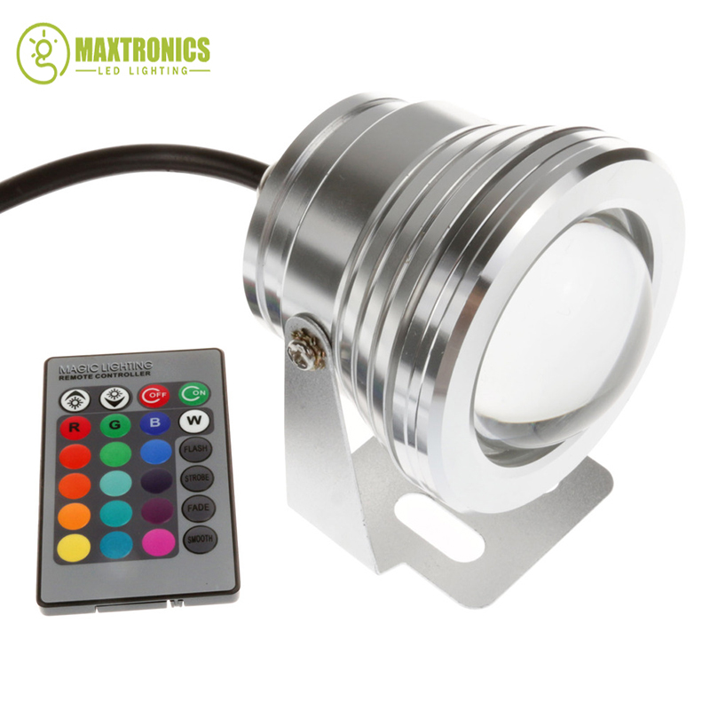 10W 12v underwater RGB Led Light 1000LM Waterproof IP68 fountain pool Lamp Lights 16 color change + 24key IR Remote controller