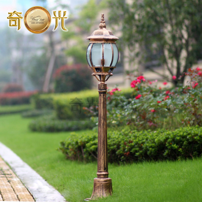 Europe retro garden pole lamp pathway post light outdoor lawn lamp post pole light pumpkin shape fixture black/bronze 220V/110V
