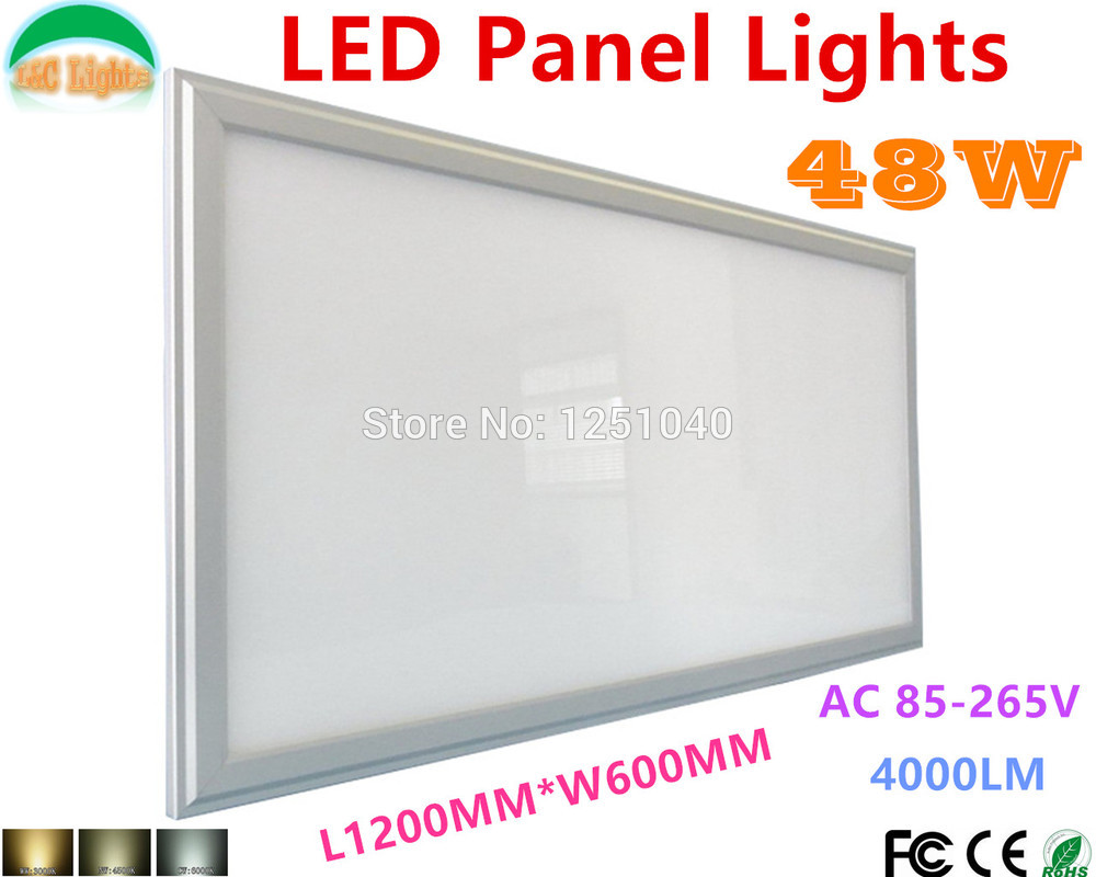 Wholesale 3pcs/lot 48W 600x1200 LED Panel Lights Super bright Office Meeting Room 60*120cm Supermarket Grille lamps CE RoHS