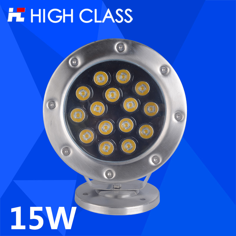 High Class Waterproof IP68 AC12V/24V 15W Colorful LED Underwater Spot Light Stainless Steel Pond Fountain Aquarium Lighting