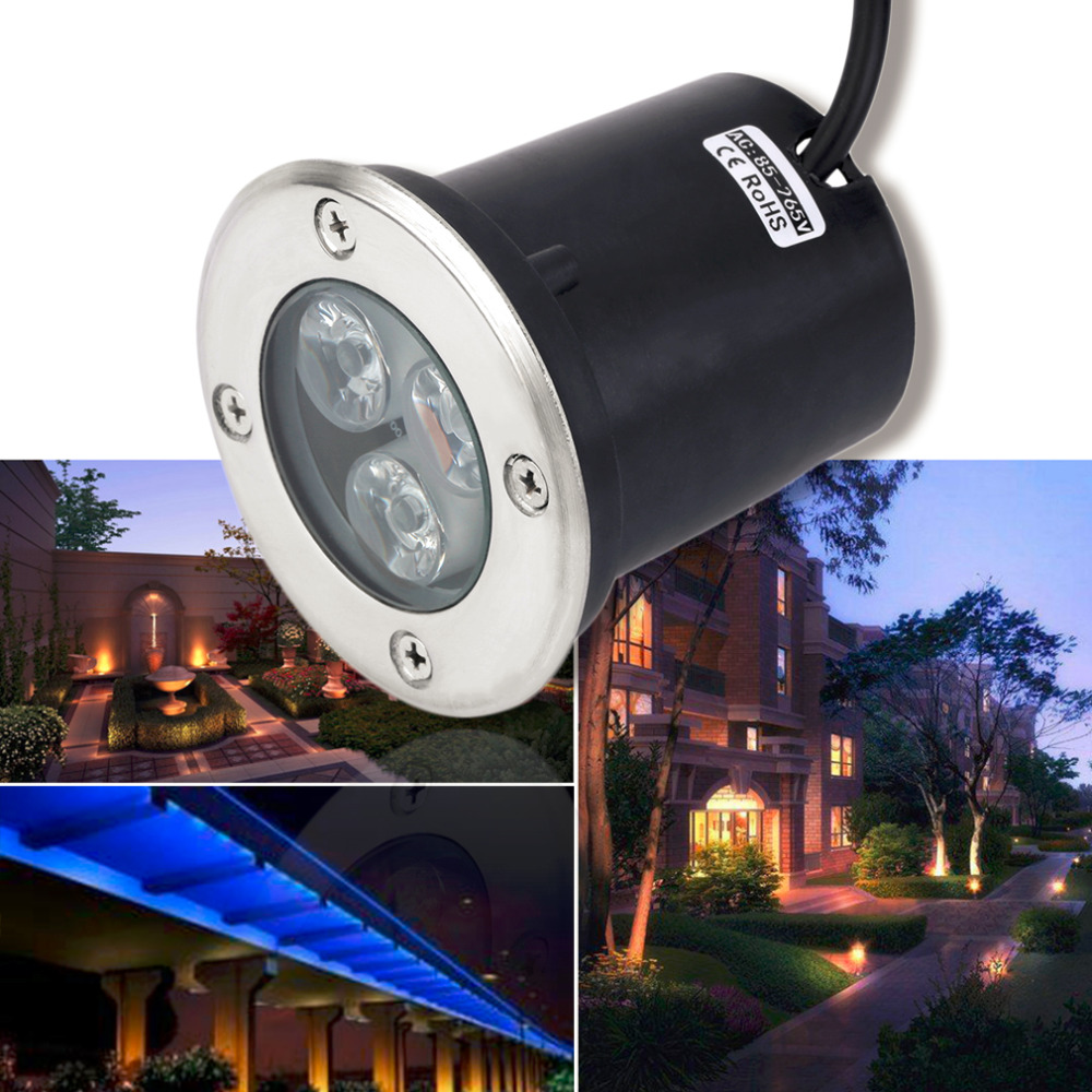 2017  Best Quality IP67 Waterproof 3W AC 85-265V LED Outdoor Ground Garden Path Floor Underground Buried Yard Lamp Spot Light