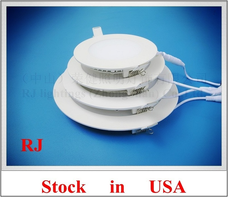 LED flat light round recessed ceiling LED panel lamp light 18W AC85-265V die cast aluminum PMMA 20pcs/box Stock in United States