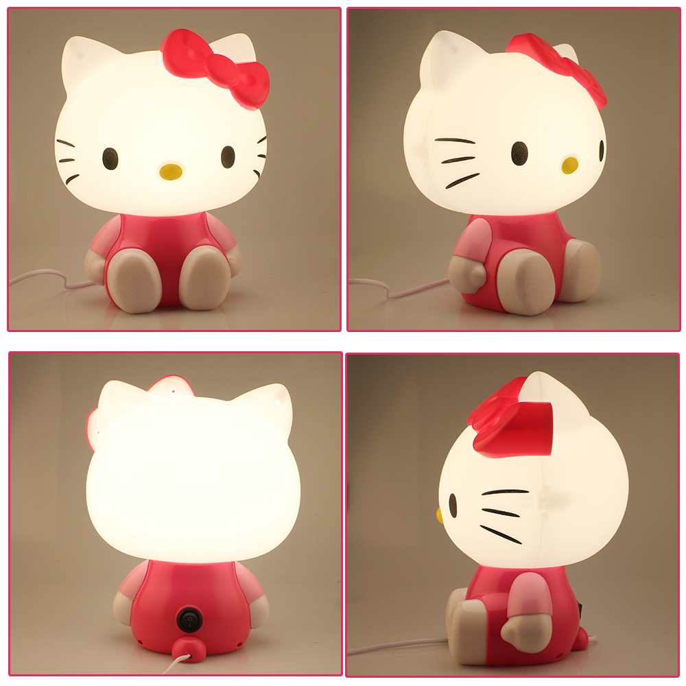 Cute cartoon Hello Kitty LED eye lamp bedside lamp reading creative gifts to students and white-collar workers warm night light