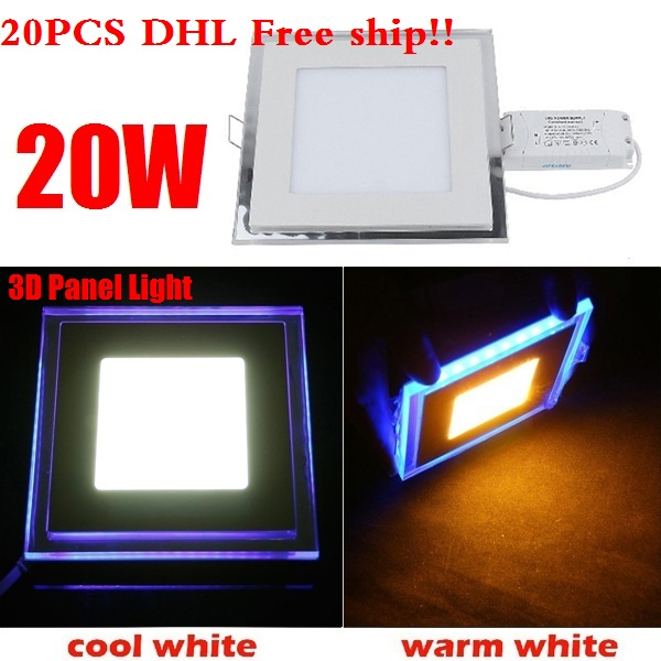 20PCS DHL 20W Acrylic LED Panel Light Ceiling Lamp Downlight Warm White/Cold White With Blue Light Border For Home Decoration