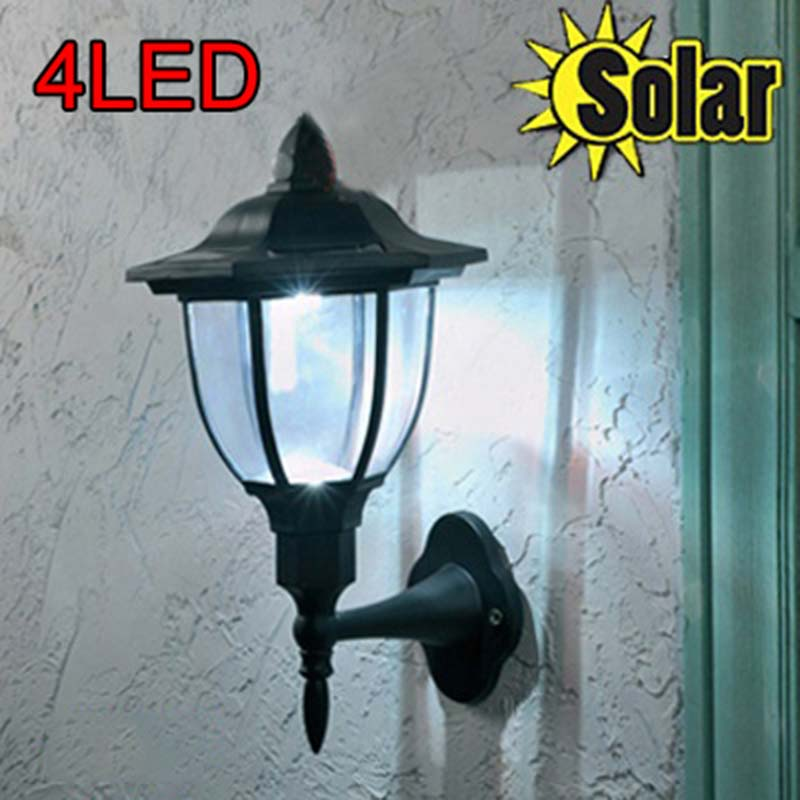 1Piece Solar Powered garden light Oudoor 4 LED Solar wall lamp 100% solar power design waterproof garden light lampara solar