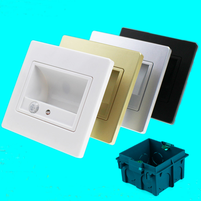 NEW ! PIR Motion Sensor Night Light LED Lamps with Light Sensor Baby Bedroom Lighting Wall Path Laundry Stair Lamp + 86# box