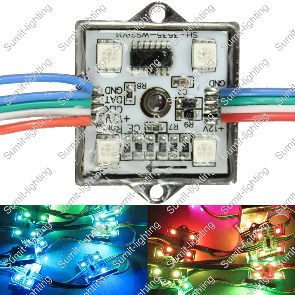 20pcs/string, DC12V IP67 Waterproof Addressable RGB Full Color WS2801 IC Pixel LED Module String, 4x5050SMD, 36mm*36mm Square