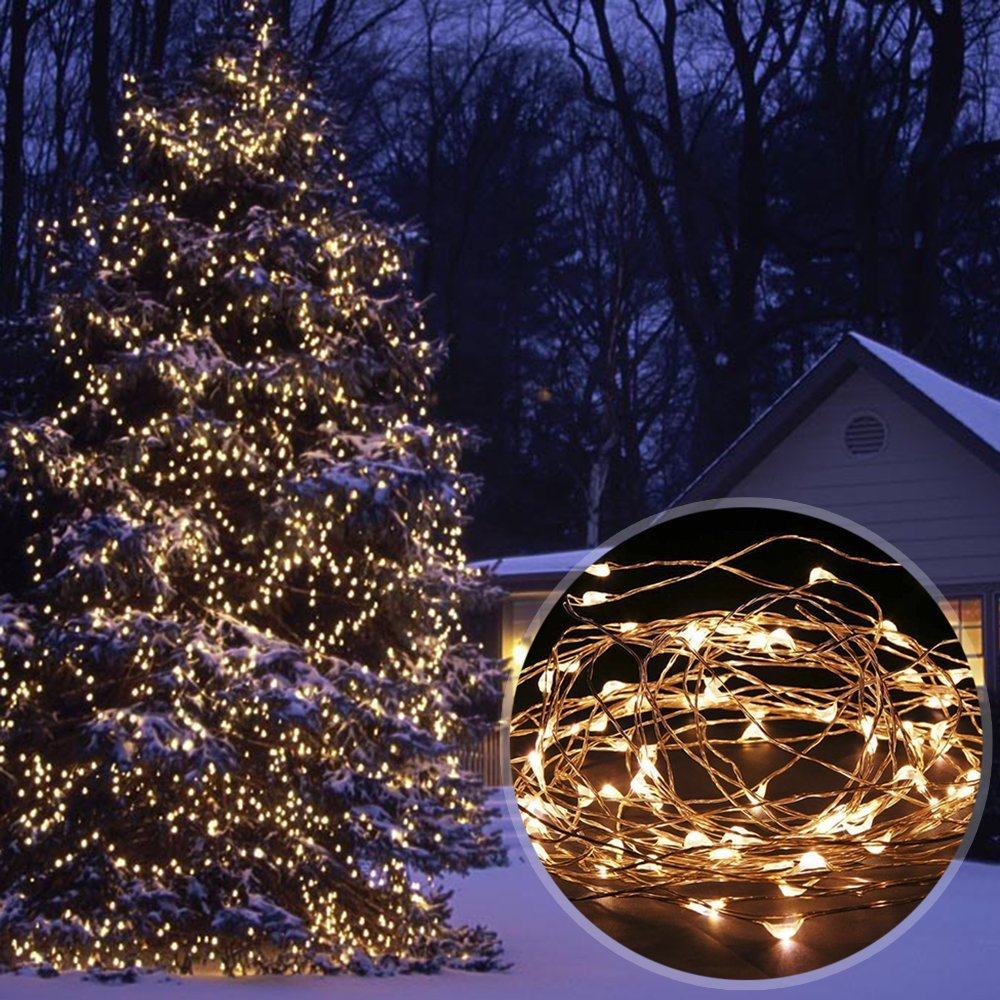 Solar Powered 33ft 10m 100 LEDs Starry String Lights, Copper Wire Lighting for Gardens, Homes Christmas Party (Warm White)