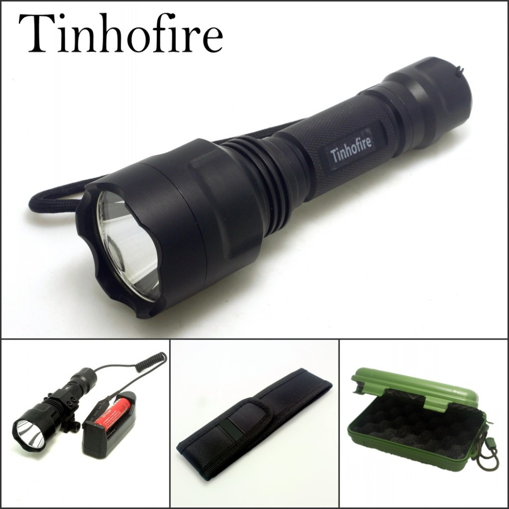 Tinhofire C8 XML T6 LED 2000 Lumens 5-mode LED Flashlight Torch Lamp Camping Fishing Bike Light Battery Remote control Box