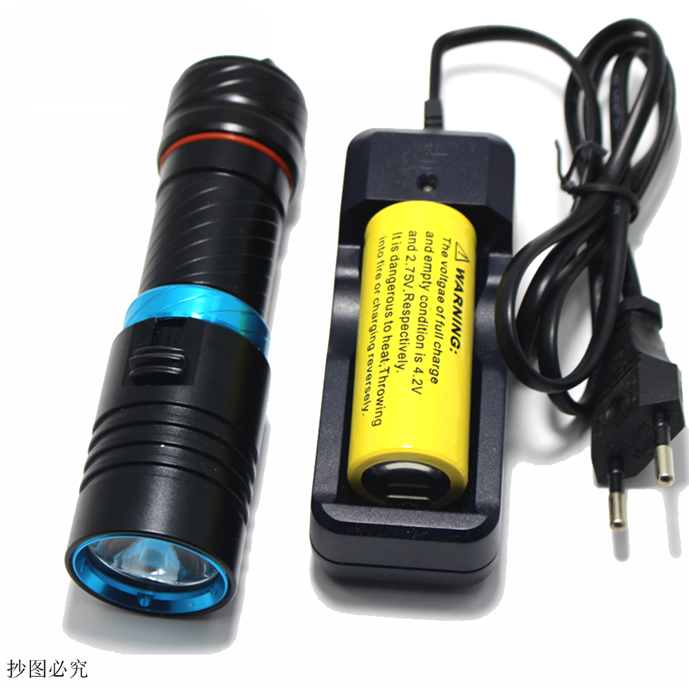 Diving 100m Cree XM-L2 26650 flashlight Underwater led light magnetic switch waterproof Flash light torch by 18650 or 26650