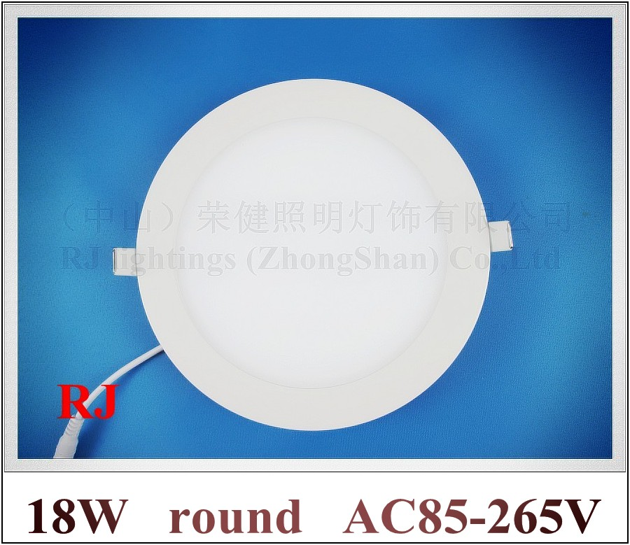 recessed install LED ceiling light round LED panel light lamp downlight down light flat light 18W AC85-265V CE aluminum+PMMA