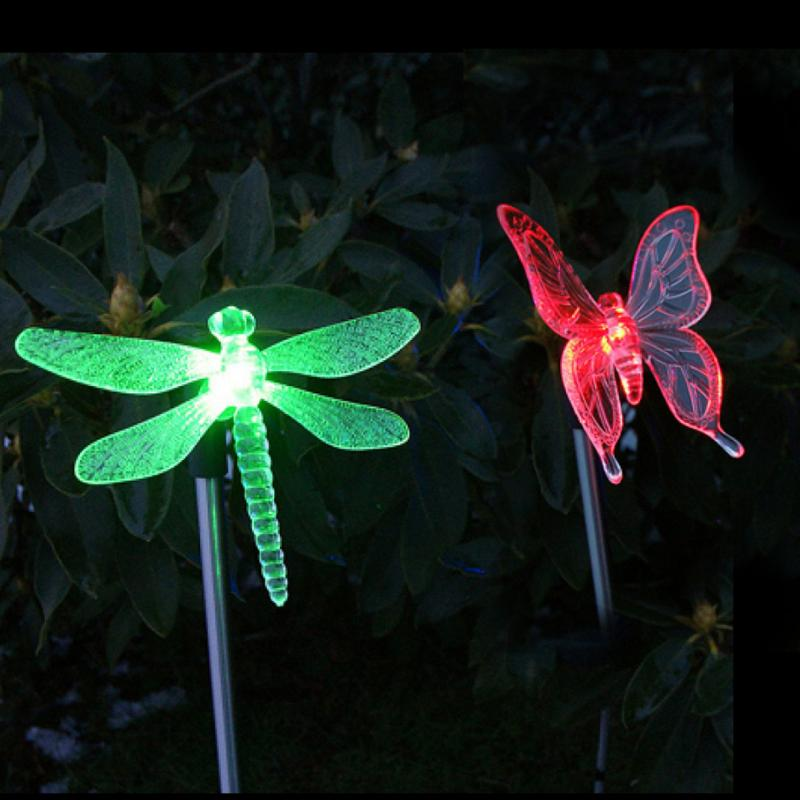 Pack of 2 Solar LED Color-Changing Dragonfly Butterfly Garden Stake Light Lawn Decoration