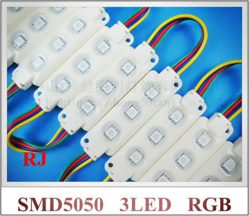 ABS expocy waterproof injection RGB LED module SMD 5050 LED back light module backlight DC12V 0.72W 3led IP66 CE 68mm*20mm