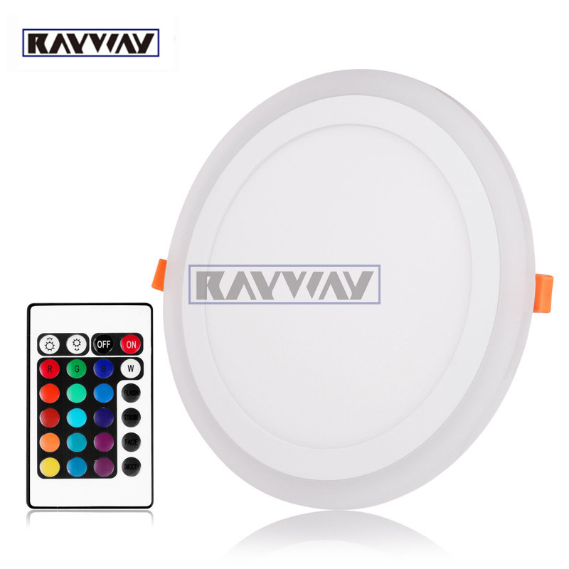 RAYWA 3 Models White &RGB Led Panel Light 6w/9w/18W/24WUltraThin Recessed LED Ceiling downlight Acrylic Panel Lamp Remot Control