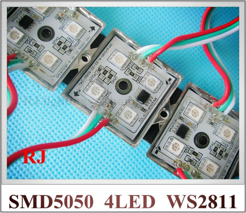 WS2811 RGB LED module light SMD 5050 LED backlight back light for sign SMD5050 DC12V 4 led 0.96W WS 2811 35mm*35mm iron CE