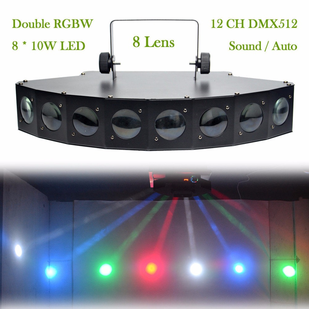 AUCD 8 Lens 8 LED RBGW Stage Light  Beam Lamp Xmas Holiday 12CH DMX Spotlights DJ Home Party Projector Show Stage Lighting LE-8H