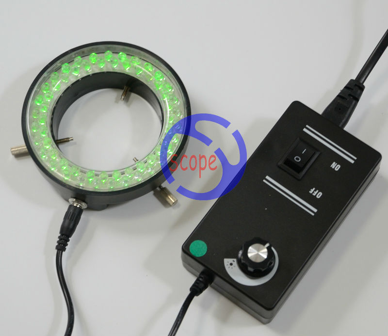 FYSCOPE Green Color Lights - 60pcs LED Illuminated Zoom Adjustable Stereo Biological Microscope Ring Lamp with Adapter 220V 110V