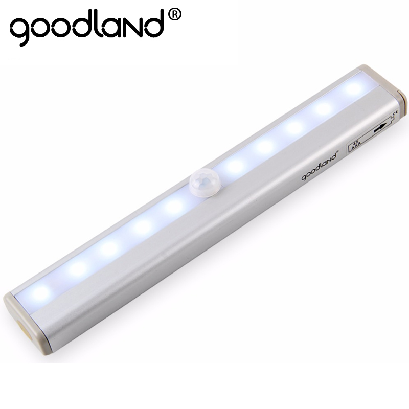 Goodland LED Night Light IR Infrared Motion Sensor Night Light 10 LEDs Wireless LED Closet Lights 4* AAA Battery Wardrobe Lights