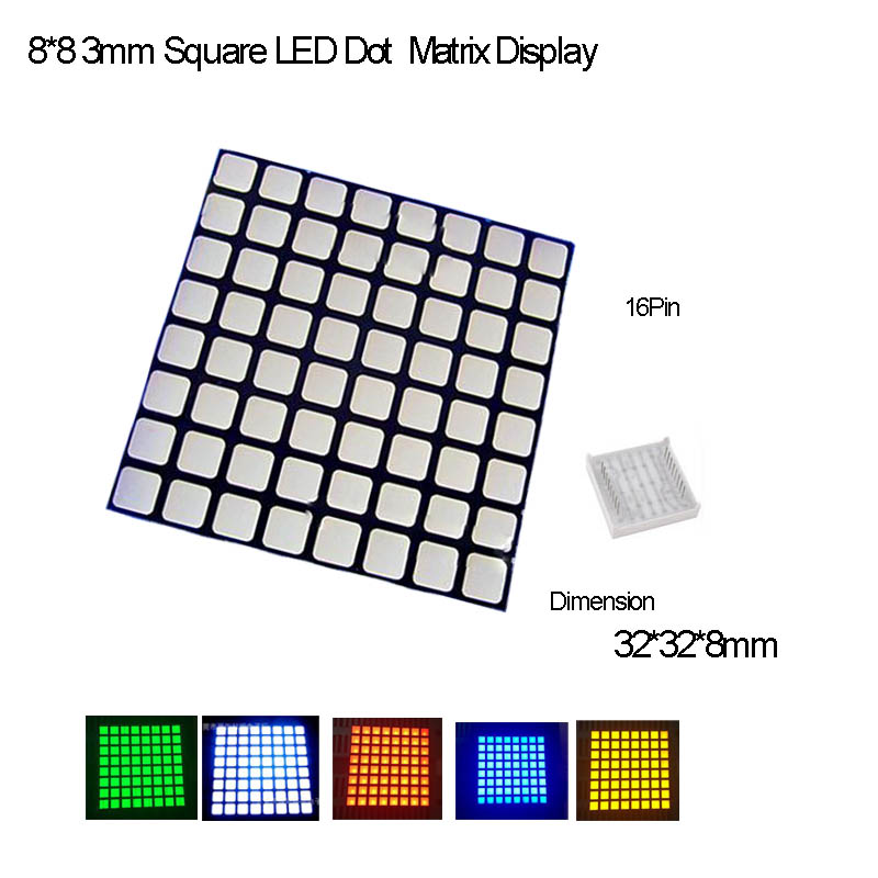 Full Color 3.0 Square LED 8*8 Dot Matrix Common Anode,16Pin,2PCS/lot R,G,B,Y,O,W Avalible,Fast Delivery