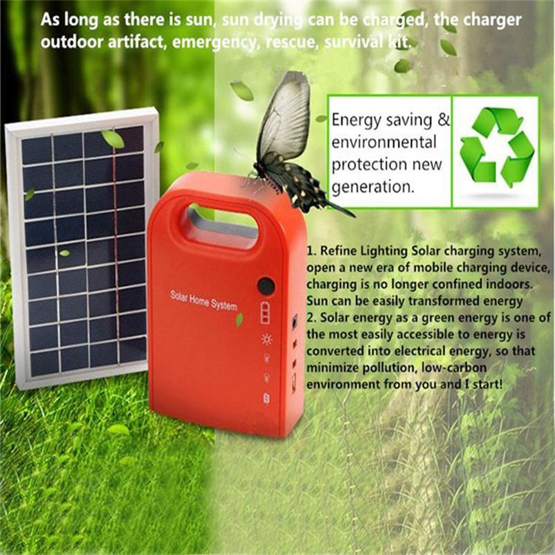 Portable Large Capacity Solar Power Bank Panel 2 LED Lamp USB Cable Battery Charger Emergency Lighting Solar Generator System