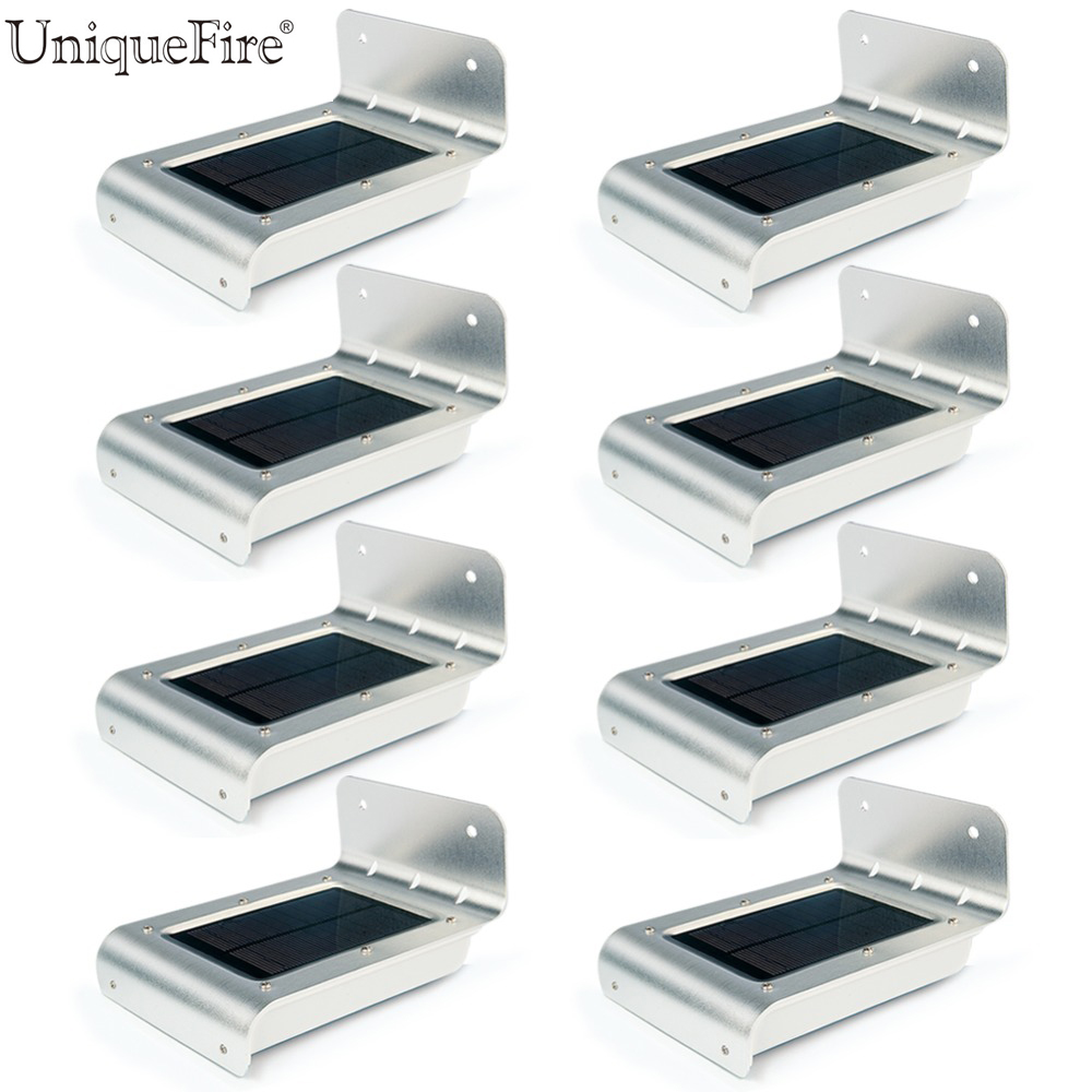 8Pcs/lot Uniquefire Best Model 16 LED Solar Powered PIR Motion Sensor Garden Security Lamp Outdoor Waterproof Light