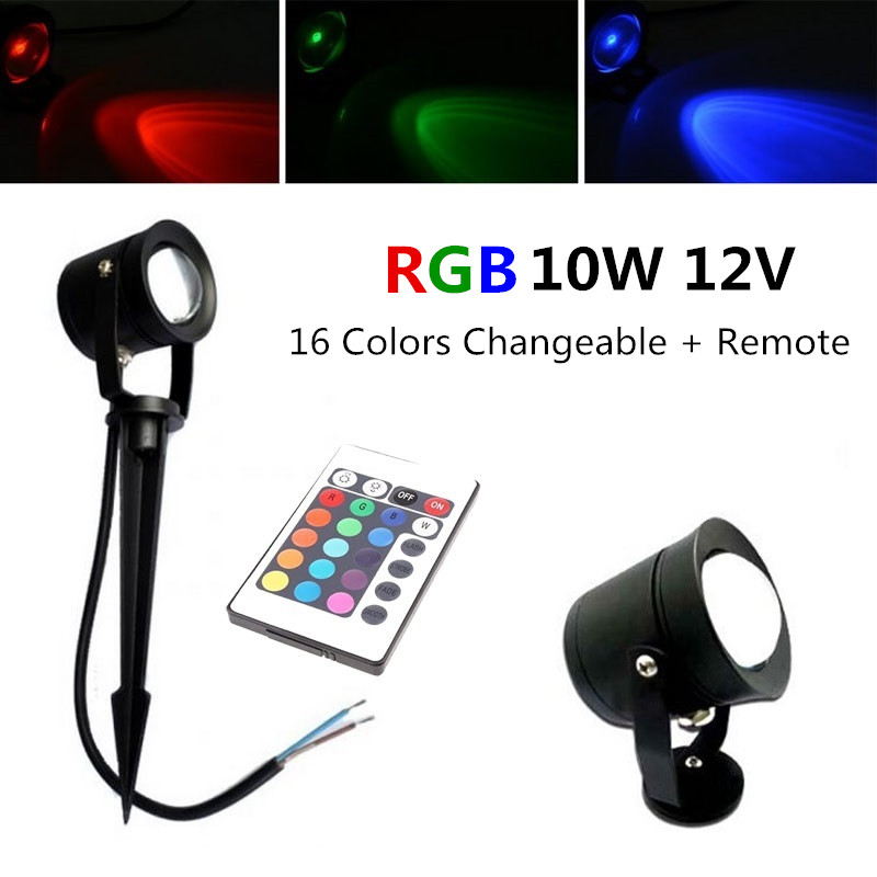 10X 12V 10W LED Garden spot outdoor light RGB changeable 220v 110v lawn lamp Underwater light with spike Waterproof IP65