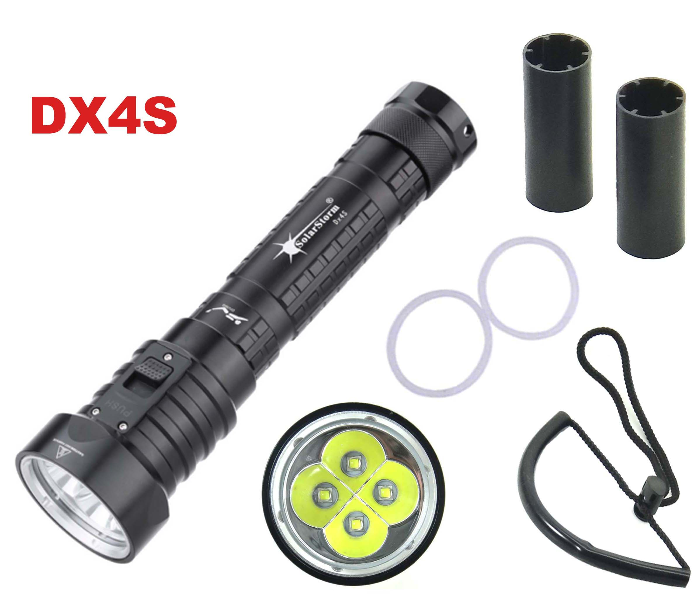 Solarstorm DX4S LED Diving Flashlight 4x CREE L2 4L2 Underwater 18650 26650 Torch Brightness Waterproof 100m Light Led Torch
